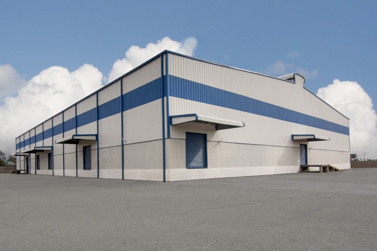 Metal building with gray and blue exterior paint
