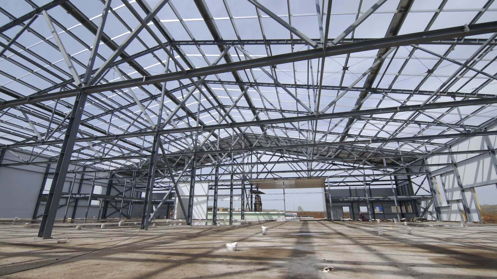 Interior of metal building with no roof