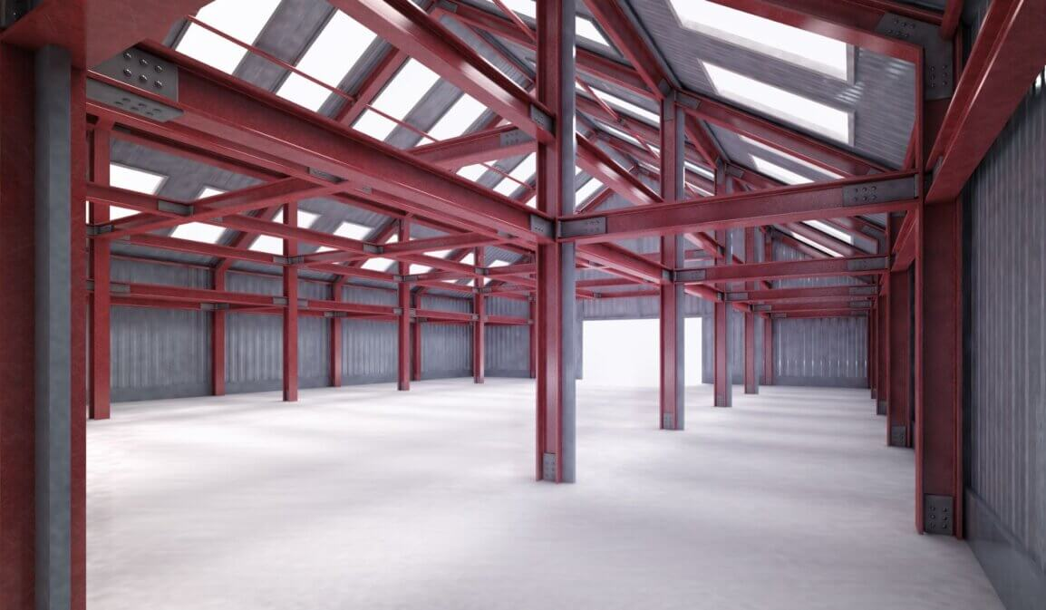 Interior view of empty metal building with red iron beams and columns